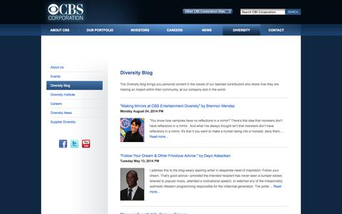Screenshot of Blog cbscorporation.com - CBS Corporation | CBS Diversity - captured Sept. 23, 2014