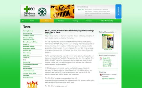 Screenshot of Press Page oksafety.org - Oklahoma Safety Council - captured Oct. 1, 2014