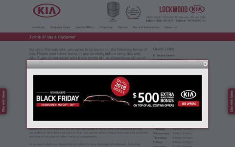 Screenshot of Terms Page lockwoodkia.com - Lockwood Kia   New Kia dealership in Oakville, ON L6L 5M9 - captured Nov. 21, 2017