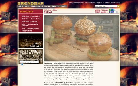 Screenshot of Locations Page breadbar.net - Dining | BREADBAR - captured Sept. 30, 2014