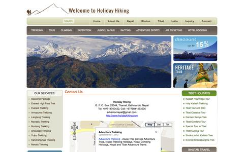 Screenshot of Contact Page holidayhiking.com - Contact to Holiday Hiking  - Holiday Hiking Agency - captured Sept. 30, 2014