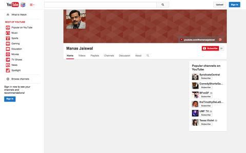 Screenshot of YouTube Page youtube.com - Manas Jaiswal  - YouTube - captured Nov. 5, 2014