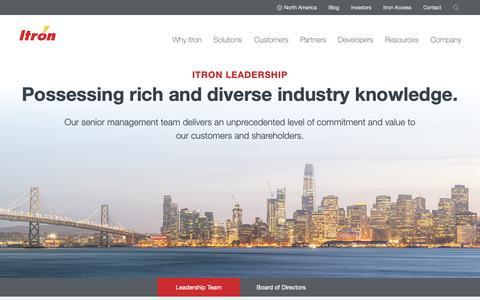 Screenshot of Team Page itron.com - Leadership - captured June 19, 2019