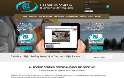 Screenshot of Home Page a1roofing.com - A1 Roofing | Chicago Roofing Contractor - captured Feb. 3, 2016
