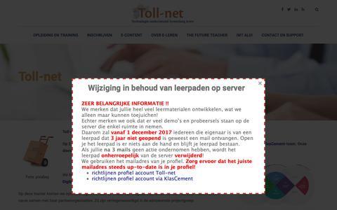 Screenshot of Home Page toll-net.be - Toll-net – Technologie Ondersteunend Levenslang Leren - captured Dec. 11, 2018
