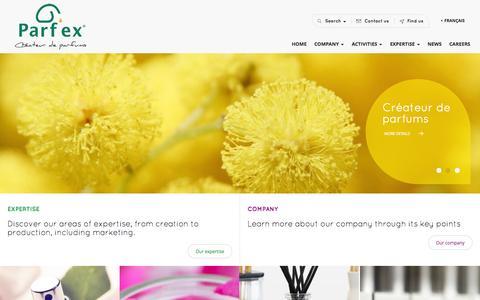Screenshot of Home Page parfex.com - PARFEX - Créateur de Parfums, Fragrance Manufacturer - captured Oct. 2, 2014