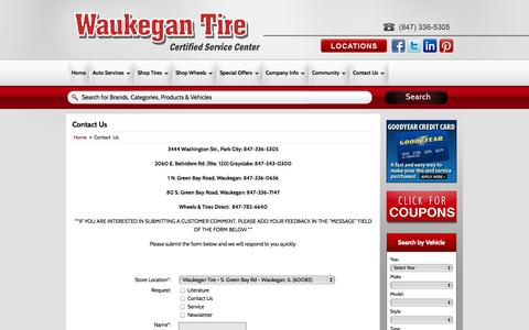 Screenshot of Contact Page waukegantire.com - Contact Us Waukegan Tire - captured Oct. 25, 2014