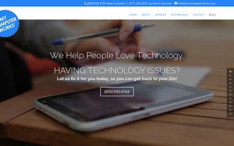 Screenshot of Home Page mycomputerworks.com - My Computer Works - captured Aug. 12, 2015