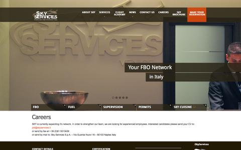 Screenshot of Jobs Page skyservices.it - CAREERS | Sky Services - captured Oct. 9, 2014