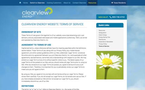 Screenshot of Terms Page clearviewenergy.com - Website Terms of Service | Clearview Energy - captured Dec. 2, 2015