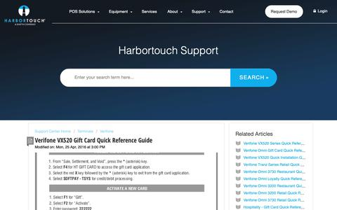 Screenshot of Support Page harbortouch.com - Verifone VX520 Gift Card Quick Reference Guide : Harbortouch Support Center - captured Oct. 9, 2018