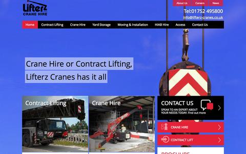 Screenshot of Home Page lifterz-cranes.co.uk - Lifterz Crane Hire and Contract Lifting Plymouth - captured Oct. 2, 2014