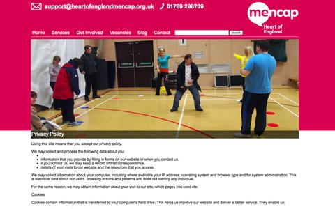Screenshot of Privacy Page heartofenglandmencap.org.uk - Privacy Policy - Heart of England Mencap - captured Sept. 29, 2014