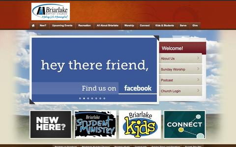 Screenshot of Home Page briarlakechurch.org - Briarlake Church - captured Oct. 5, 2014