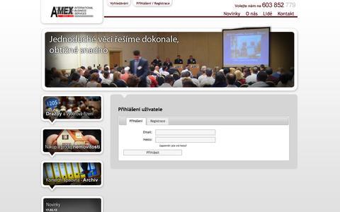 Screenshot of Login Page amex-brno.cz - Dražební síň, Komerční spisovna, Služby pro konkurzní správce - AMEX Brno s.r.o. - captured June 13, 2016
