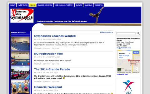 Screenshot of Press Page mnvalleygymnastics.com - News    Minnesota Valley Gymnastics Center - captured Oct. 7, 2014