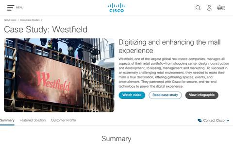 Screenshot of Case Studies Page cisco.com - Cisco Case Study: Westfield - Cisco - captured May 10, 2019