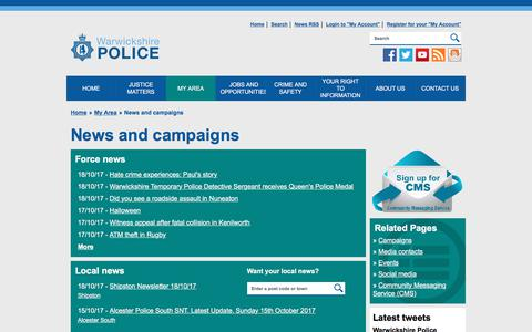 Screenshot of Press Page warwickshire.police.uk - Warwickshire Police - News and campaigns - captured Oct. 19, 2017