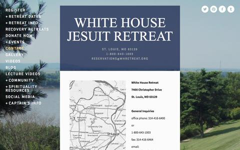 Screenshot of Contact Page whretreat.org - Contact — WHITE HOUSE JESUIT RETREAT - captured Oct. 27, 2014