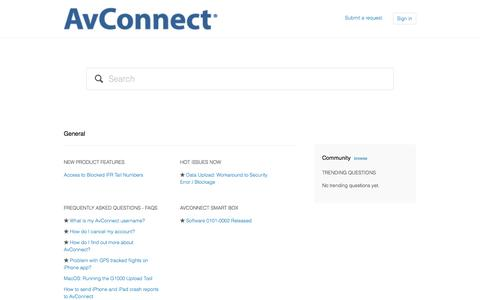 Screenshot of Support Page zendesk.com - AvConnect Support - captured Sept. 12, 2014