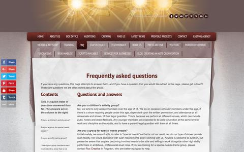 Screenshot of FAQ Page southdevonplayers.com - Frequently Asked Questions about the South Devon Players - captured April 21, 2018