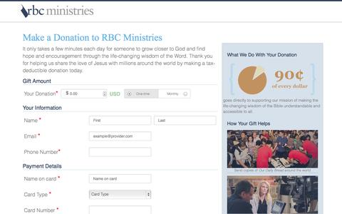 Screenshot of Support Page rbc.org - Make a Donation to RBC Ministries - captured Sept. 22, 2014
