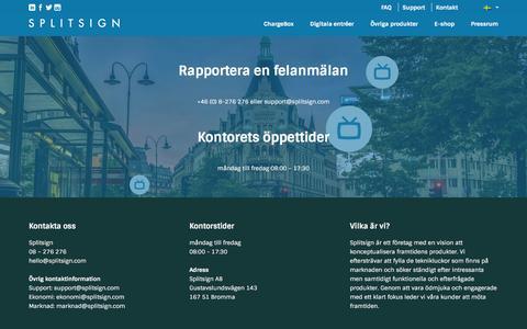 Screenshot of Support Page splitsign.com - SplitsignSupport- felanmälan - Splitsign - captured Feb. 27, 2016