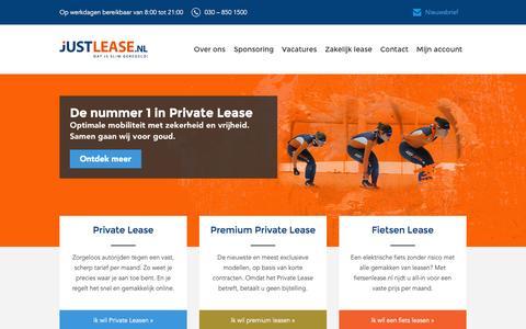 Screenshot of Home Page justlease.nl - De nummer 1 in Private Lease |             Justlease.nl - captured Sept. 12, 2016