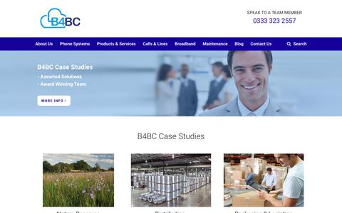 Screenshot of Case Studies Page b4bc.co.uk - Case Studies Section - Telephone Systems - captured Oct. 10, 2017