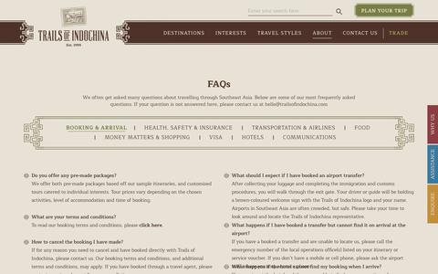 Screenshot of FAQ Page trailsofindochina.com - Frequently Asked Questions | Trails of Indochina - captured Nov. 8, 2019