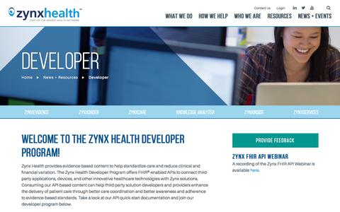 Screenshot of Developers Page zynxhealth.com - Developer - Zynx Health - captured June 28, 2018