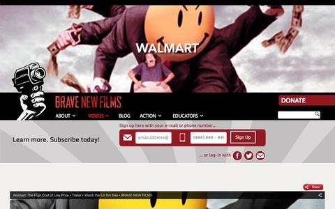 Screenshot of bravenewfilms.org - Walmart - Brave New Films - captured Oct. 3, 2015