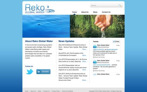 Screenshot of Home Page rekogw.com - Reko Global Water | Pure water for healthy tomorrow - captured Sept. 17, 2014