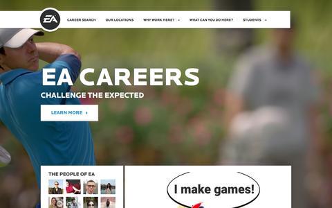Screenshot of Jobs Page ea.com - Home | EA Careers - captured Feb. 19, 2016