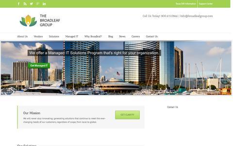 Screenshot of Home Page broadleafgroup.com - The Broadleaf Group | Citrix, Cisco, VMware, Microsoft reseller - captured Jan. 23, 2015