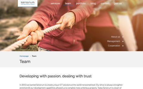Screenshot of Team Page sensinum.com - Team - Sensinum - Web Applications Experts - captured June 26, 2016
