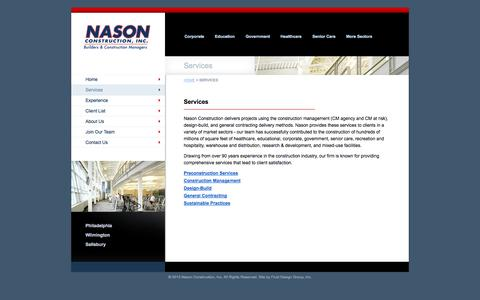 Screenshot of Services Page nasonconstruction.com - Services | Nason Construction, Inc. - captured Oct. 27, 2014