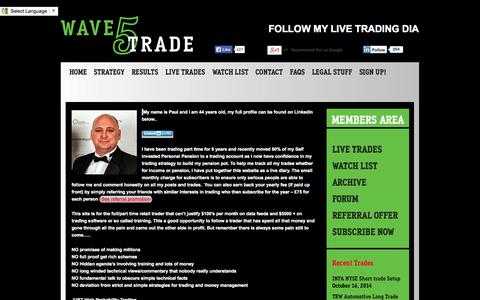 Screenshot of About Page wave5trade.com - About - Wave5 TradeWave5 Trade - captured Oct. 27, 2014