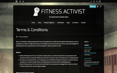 Screenshot of Terms Page fitnessactivist.com - Terms & Conditions - Fitness Activist - captured Sept. 30, 2014