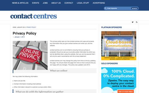 Screenshot of Privacy Page contact-centres.com - Privacy Policy • Contact-Centres.comContact-Centres.com - captured Oct. 8, 2014