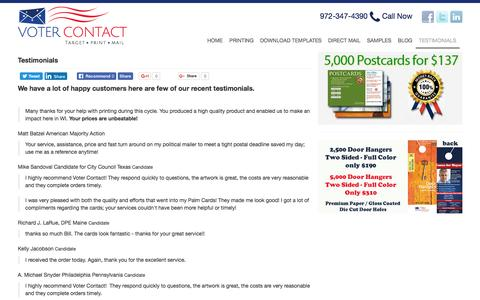 Screenshot of Testimonials Page votercontact.org - Voter Contact Customer Testimonials - captured Aug. 14, 2016