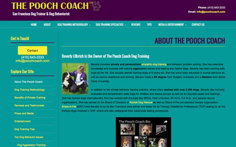Screenshot of About Page poochcoach.com - About the Pooch Coach San Francisco Dog Trainer - captured Dec. 22, 2016