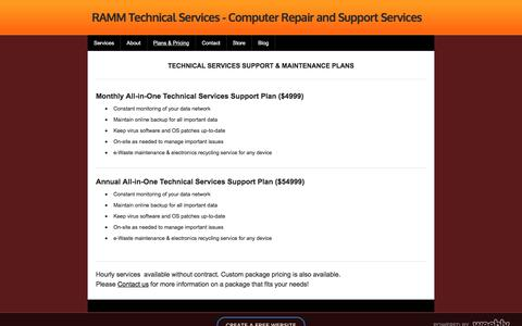 Screenshot of Pricing Page rammts.com - Support Plans & Pricing - RAMM Technical Services - Computer Repair and Support Services - captured Jan. 19, 2018