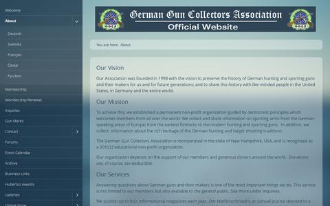 Screenshot of About Page germanguns.com - About the German Gun Collectors Association - Helping to preserve History - captured June 24, 2016