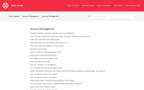 Screenshot of Support Page twilio.com - Account Management – Twilio Support - captured June 13, 2019