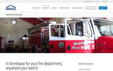 Screenshot of mahaffeyusa.com - Temporary Firehouses - captured March 20, 2016