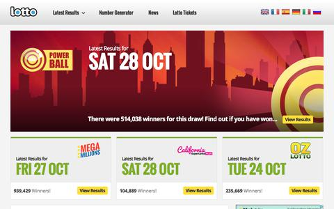 Screenshot of Home Page lotto.net - Lotto | The Official Lotto.net Website - Lotto.net - captured Oct. 30, 2017