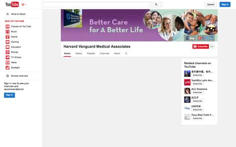 Screenshot of YouTube Page youtube.com - Harvard Vanguard Medical Associates  - YouTube - captured Oct. 22, 2014