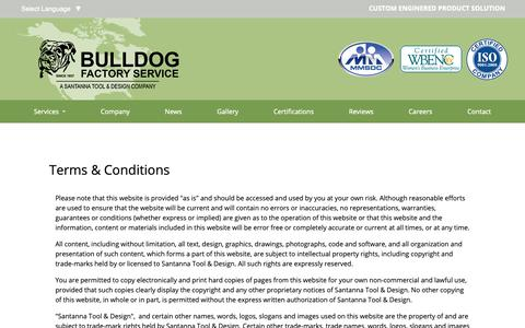 Screenshot of Terms Page santannatool.com - Bulldog Factory Services Terms - captured Oct. 2, 2018