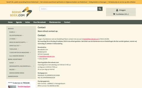 Screenshot of Contact Page berneboek.com - Contact | Boekhandel Berne - captured Oct. 28, 2018